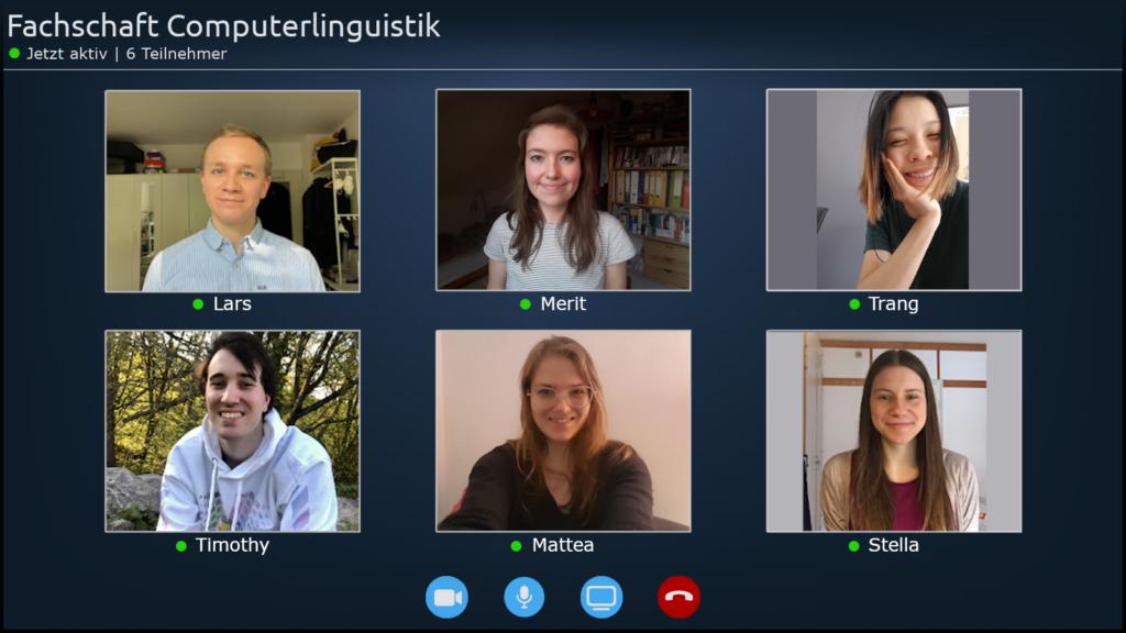 Abbildung der Mitglieder (Lars, Merit, Trang, Timothy, Mattea, Stella) des Fachschaftsrates 2021 in einer Videokonferenz